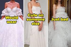 Three wedding dresses labeled