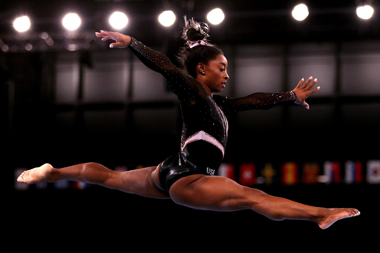 Simone doing the splits mid-air