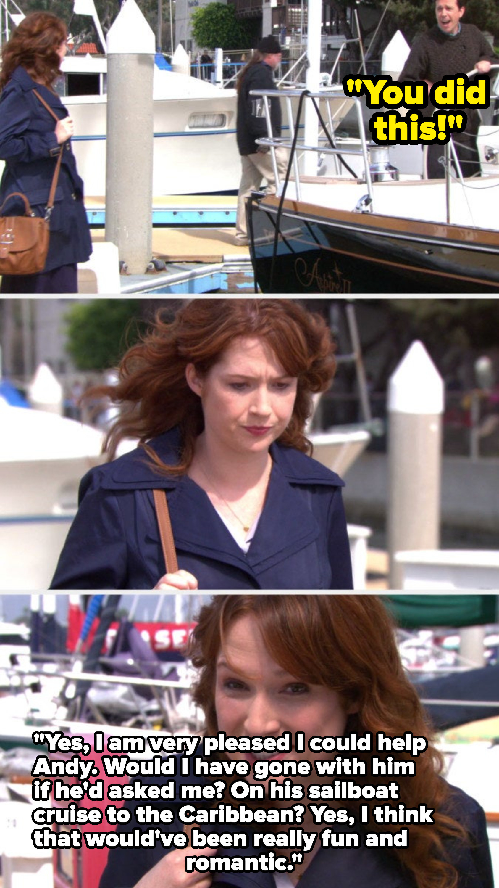 Andy sailing off in his boat and Erin telling the camera that she wishes he asked her to come