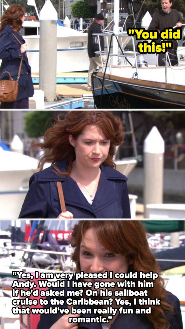 7. When Andy left Erin behind on the boat on the TV show, The Office, it was shocking how he treated her by leaving her on the boat. Also, all the lies he told Robert California to cover up his own mistakes.