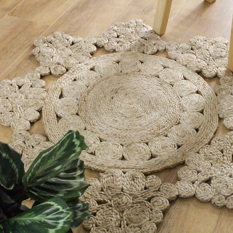 woven star-shaped jute area rug