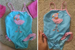 Reviewer's before and after photos showing a stained swimsuit and a spotless swimsuit