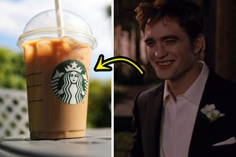 a starbucks drink on the left and edward cullen on the right
