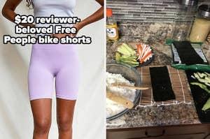 bike shorts and sushi kit
