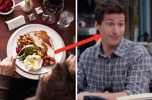 A person sits in front of a plate of Thanksgiving foots and a close up of Jake Peralta as he sits with widened eyes