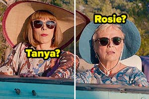 Tanya and Rosie sit side by side in a car while wearing oversized hats and dark sunglasses