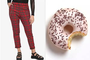 plaid pants next to a donut with a bite in it