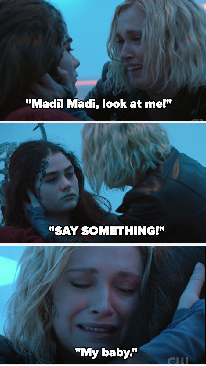 """Clarke holding Madi's face begging her to look at her or say something, saying """"my baby"""""""