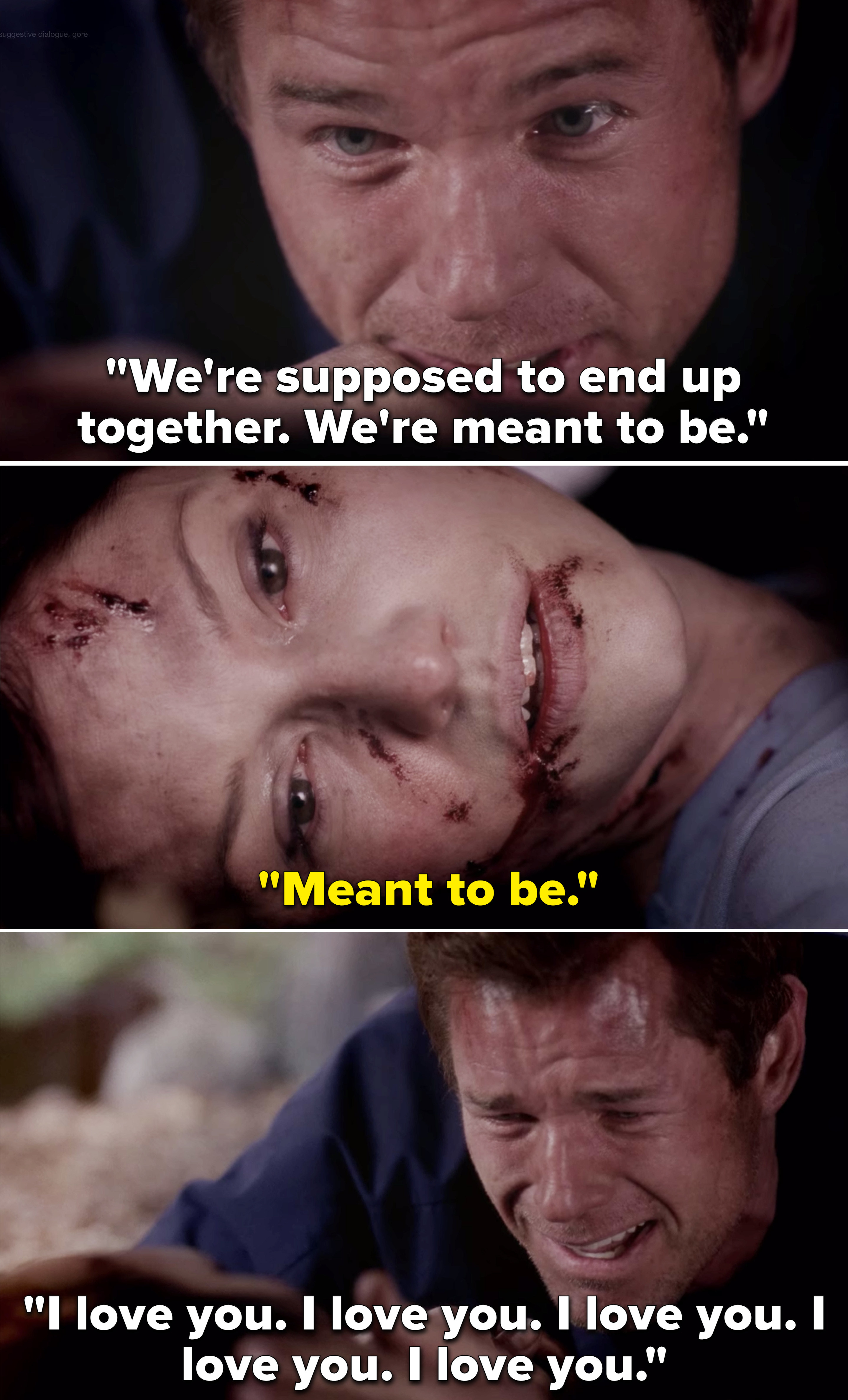 """Mark telling Lexie they're meant to be and then repeating """"I love you"""" after she dies"""