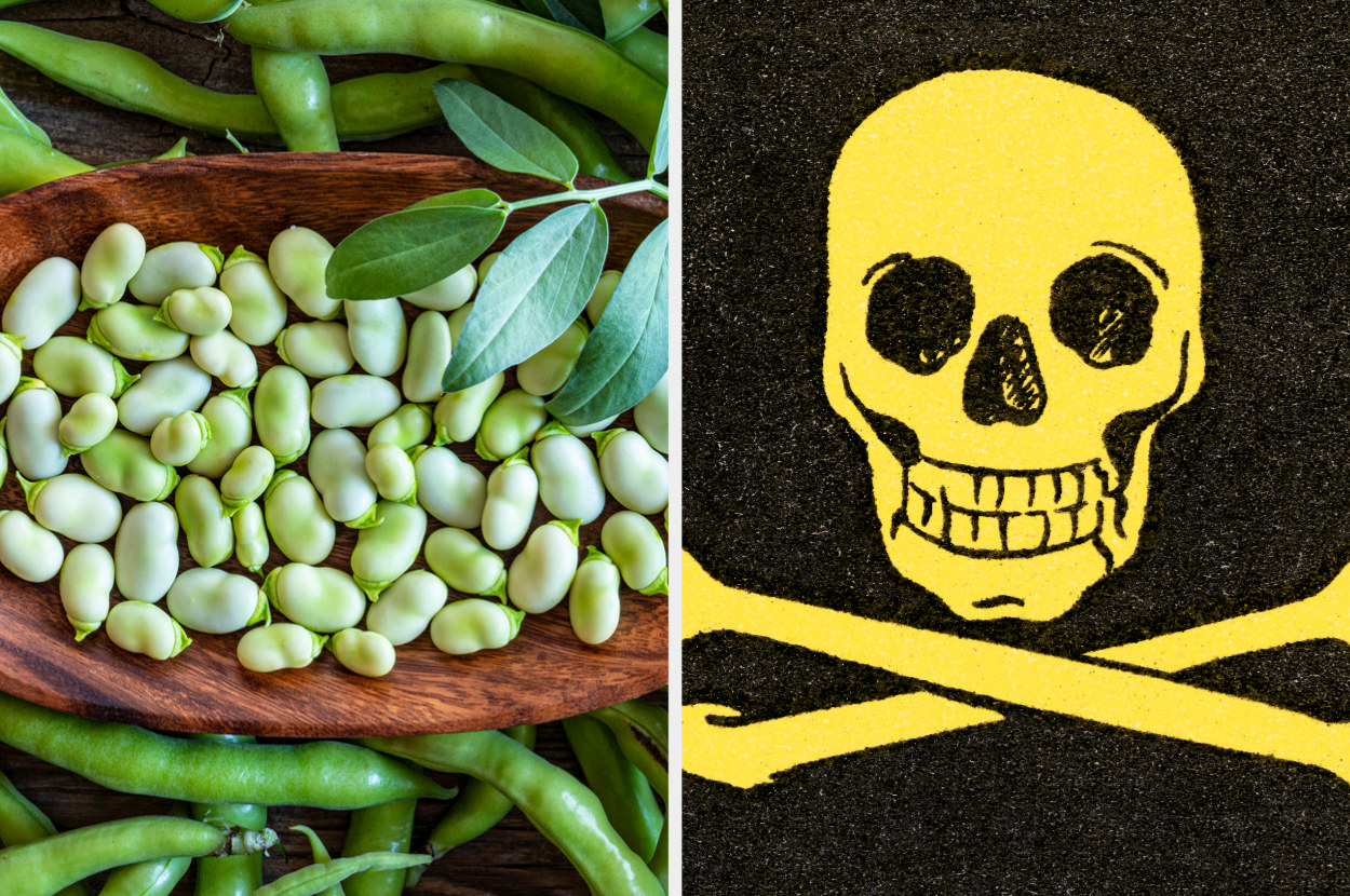 lima beans, next to a skull and crossbones to signify a substance is poisonous