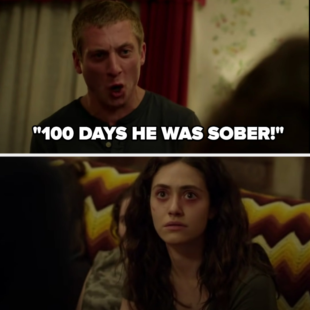 """Lip screams """"100 days he was sober!"""" as Fiona looks surprised"""