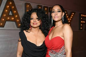 Diana Ross and Tracee Ellis Ross are photographed together at the 2019 Vanity Fair Oscar Party