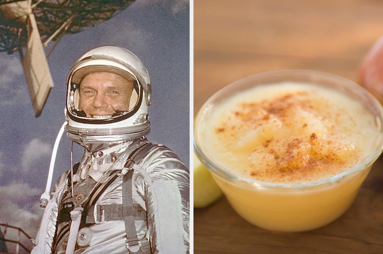 Astronaut John Glenn, next to a cup of applesauce