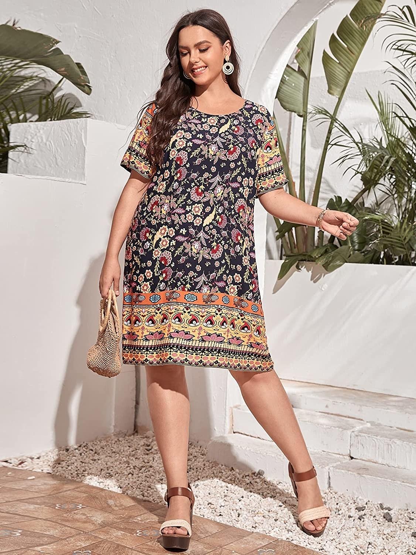 a plus size model wearing the Black Cc bohemian print summer dress