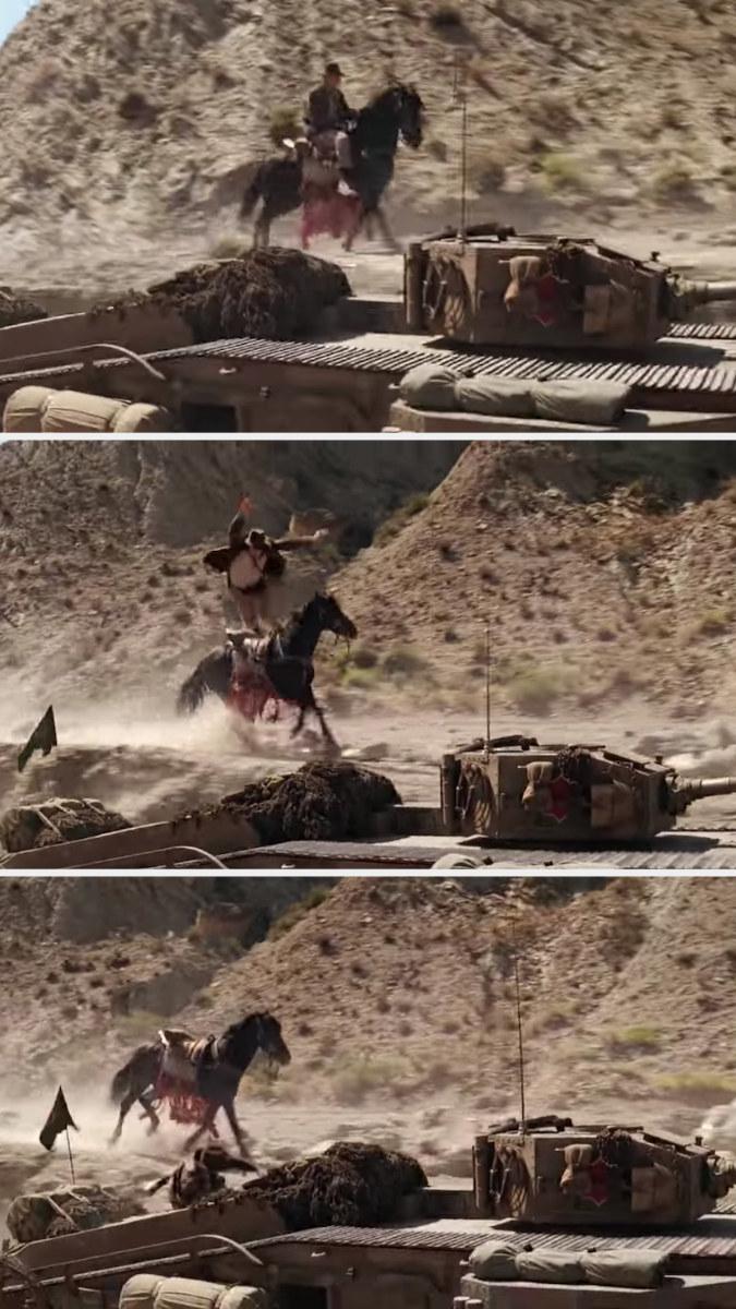 Stunt double leaps onto the tank