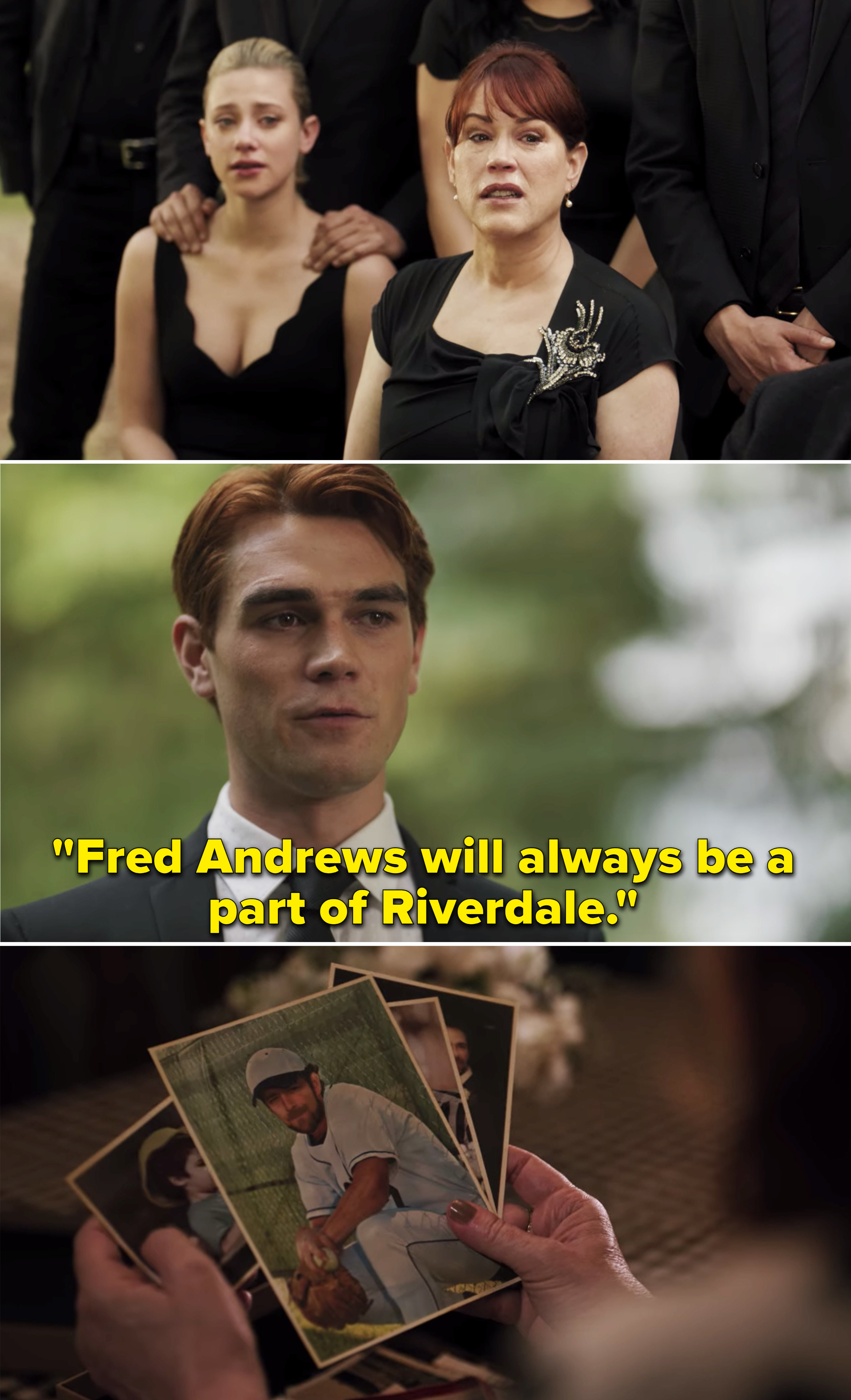 """Archie saying,""""Fred Andrews will always be a part of Riverdale"""""""