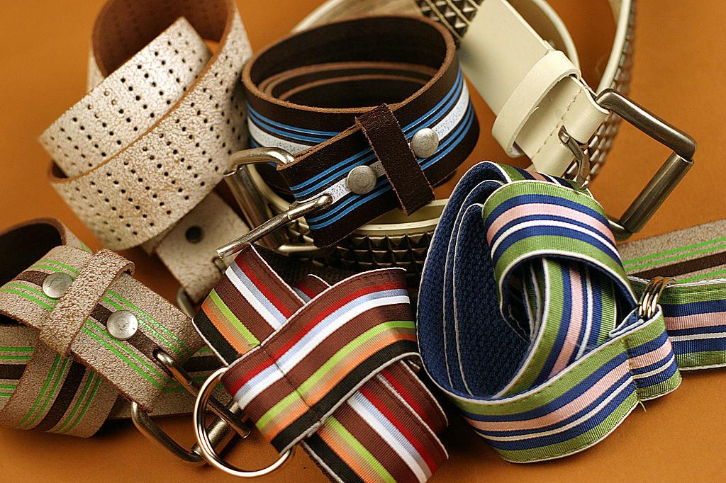 Photo of six different striped ribbon belts