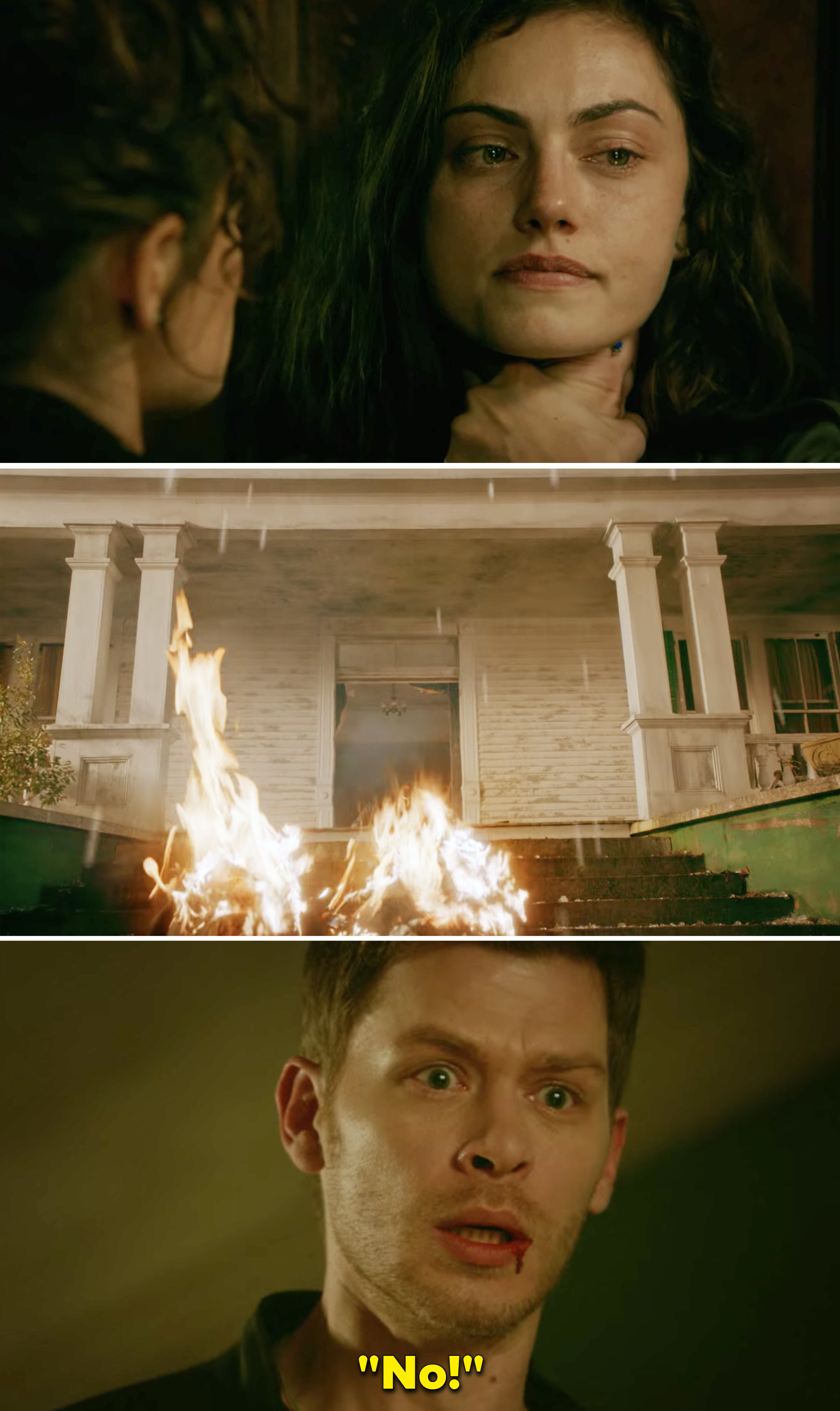 """Klaus saying, """"No"""" after Hayley catches fire after leaping out the door and into the sunlight"""