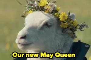 A lamb in a flower crown
