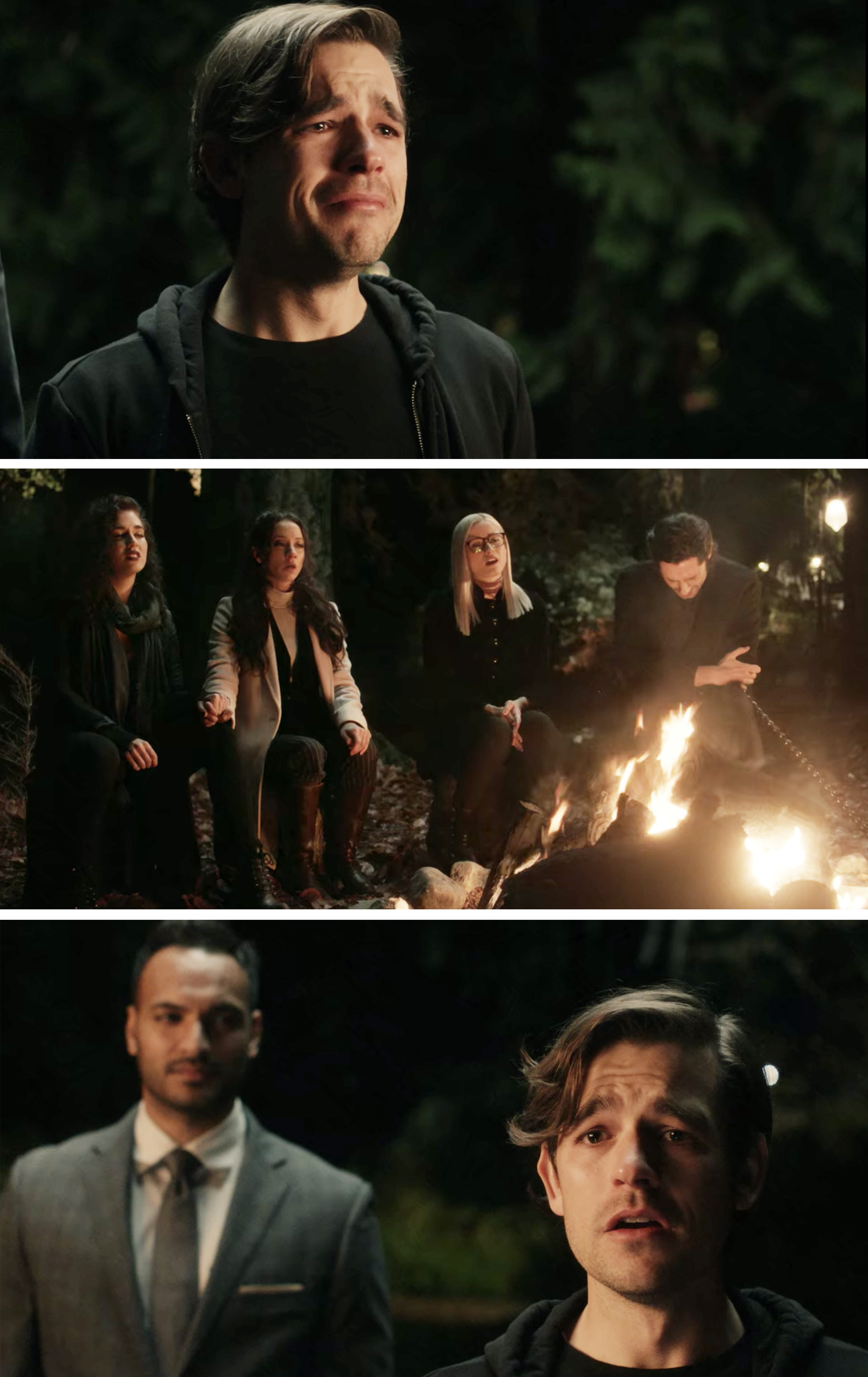 Everyone singing around a campfire and Quentin crying