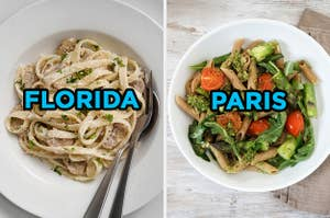 On the left, a bowl of fettuccine with mushrooms labeled