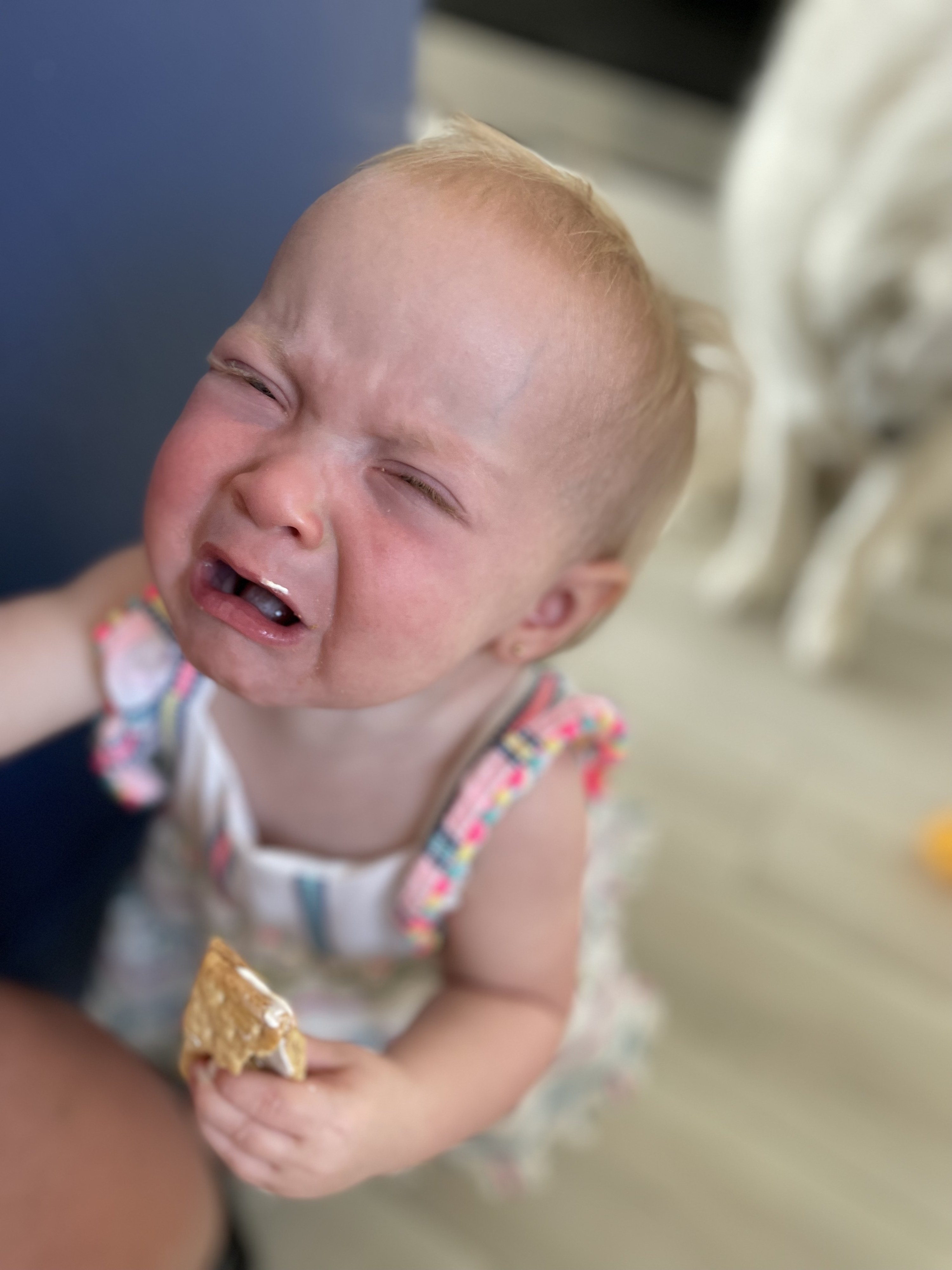 The author's daughter crying