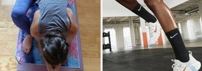 On left, reviewer uses tie-dye yoga towel while practicing yoga. On right, model wears Nike white training shoes while doing a HIIT workout