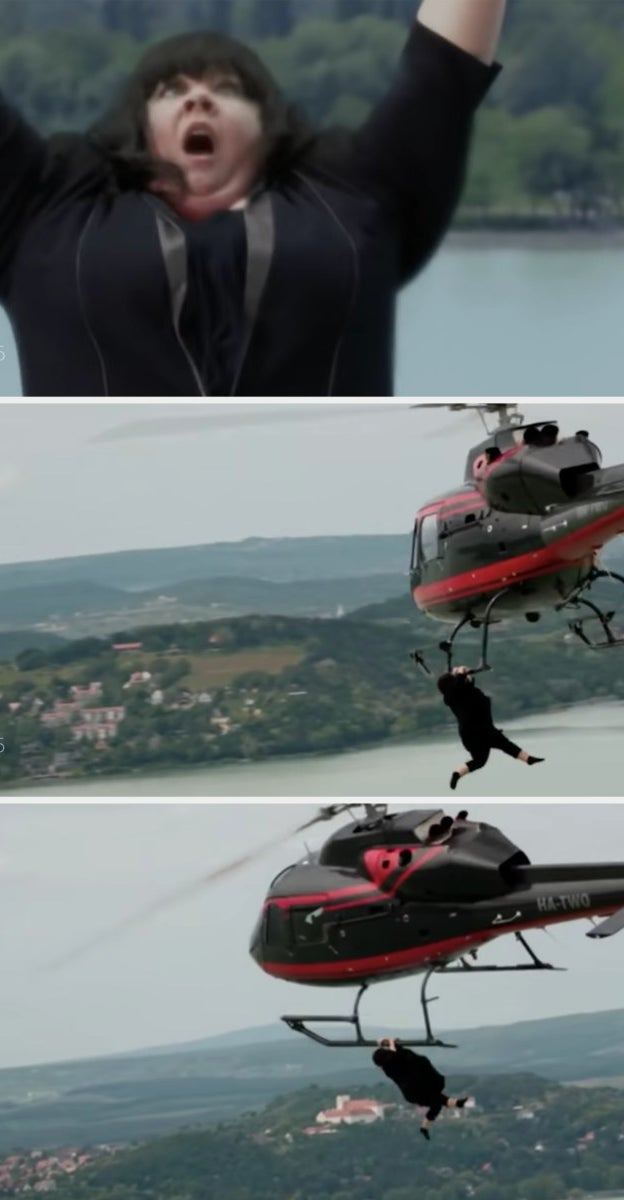Melissa McCarthy's character tries to hold on to a helicopter while it's midair