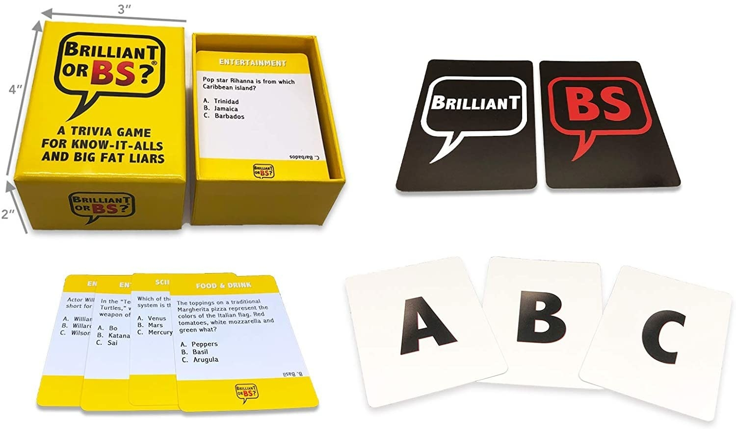 the trivia game box with various trivia cards