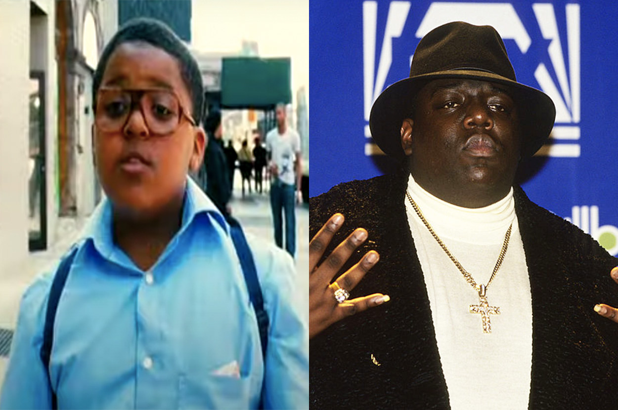 young Christopher Wallace walks down the street