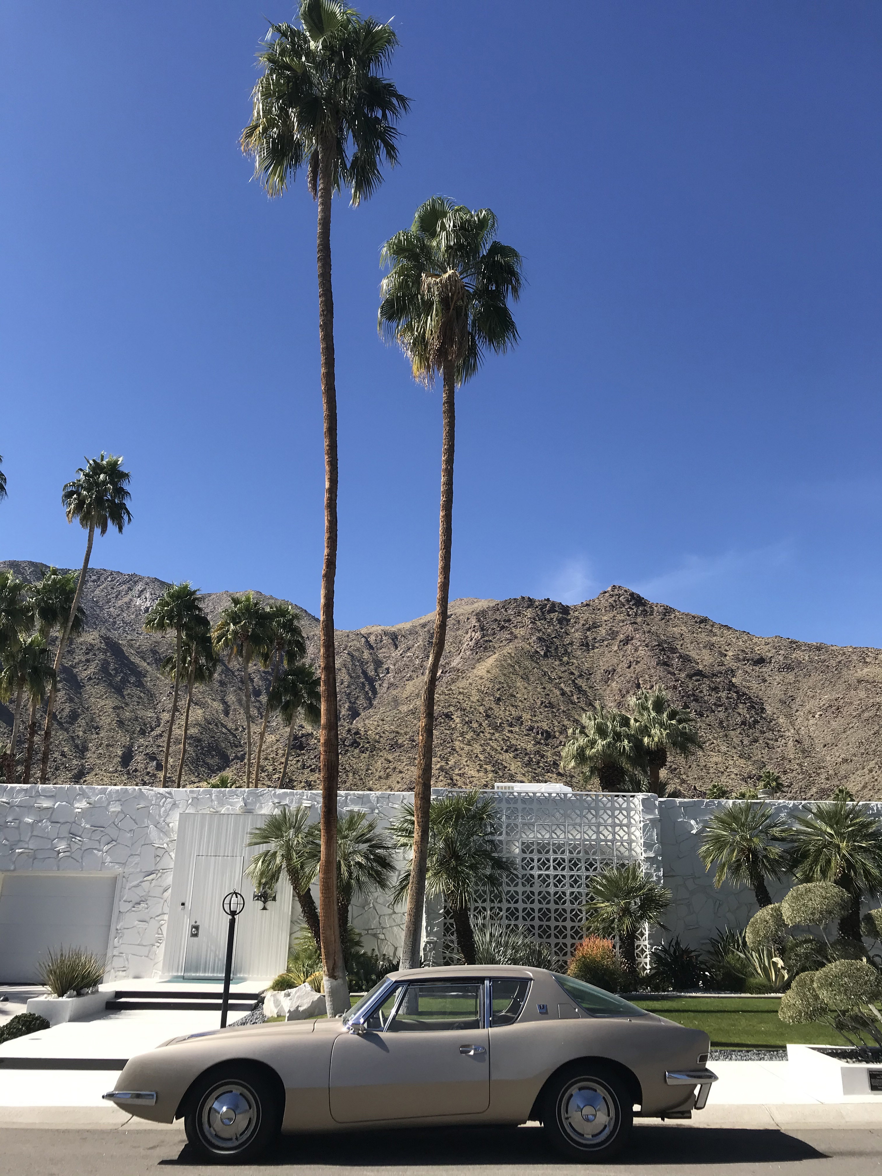 The Morse Home designed by architect Hal Levitt and featuring an Avanti Studebaker in Palm Springs, California on February 12, 2020.