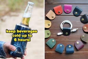left image: s'well cup holder, right image: tech chord organizers