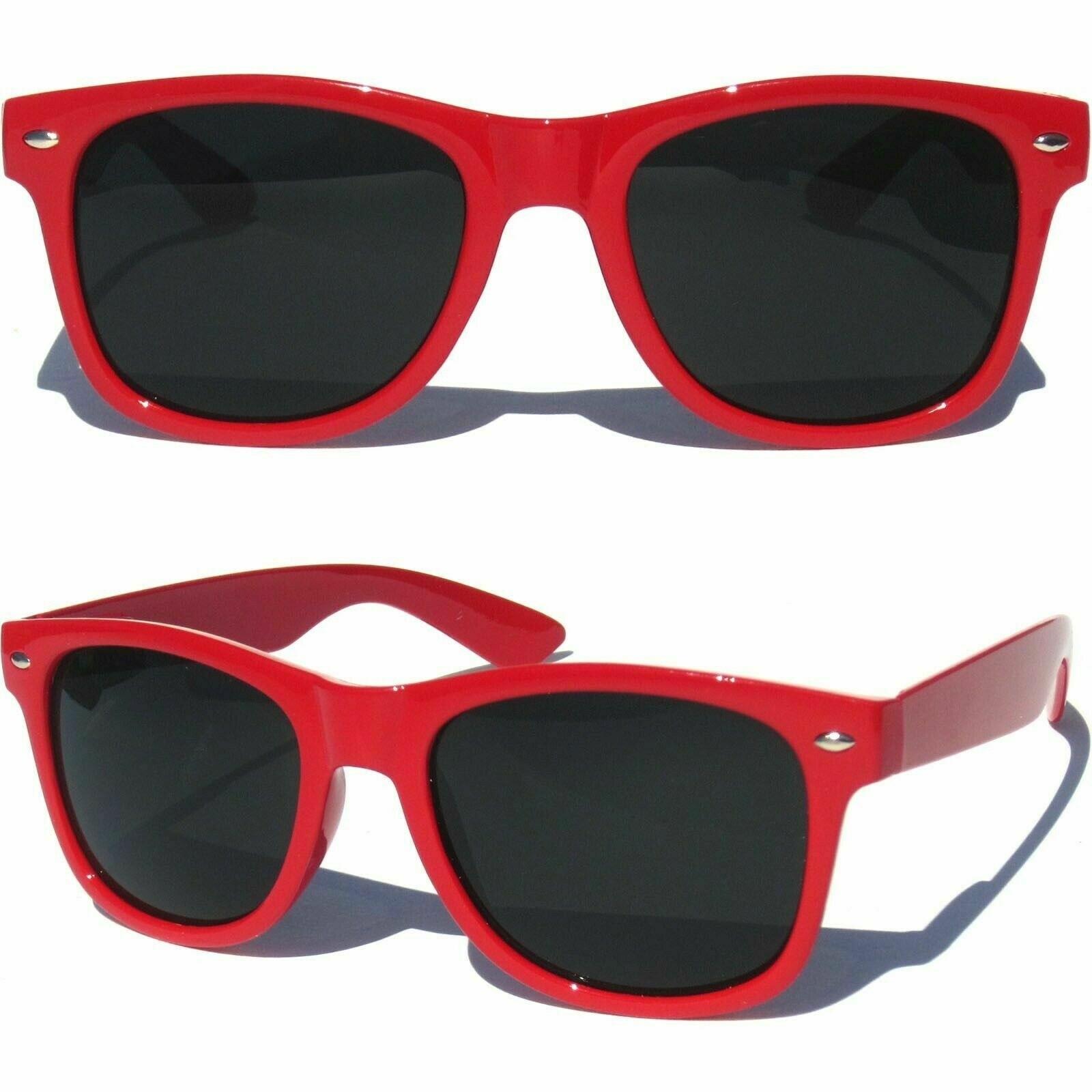 Red wayfarer glasses