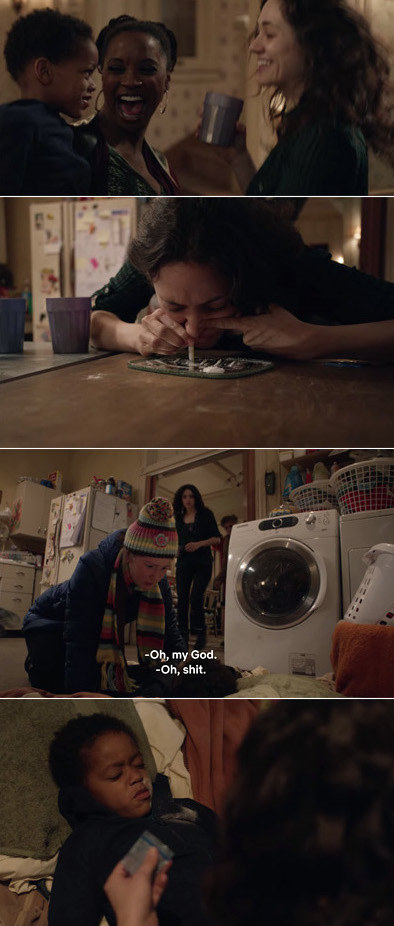 Fiona dancing with Vee and Liam and then doing coke and then later she finds Liam passed out with coke smeared on his face