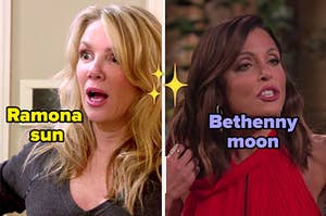 ramona with her mouth and eyes wide, next to a separate image of bethenny mid-argument