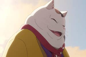 an animated cat laughs
