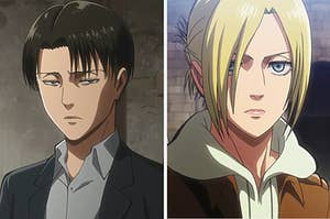 on the left: animated man with short stringy hair has a furrowed brow, mouth frowning. on the right, animated character with hair in ponytail, brows furrowed