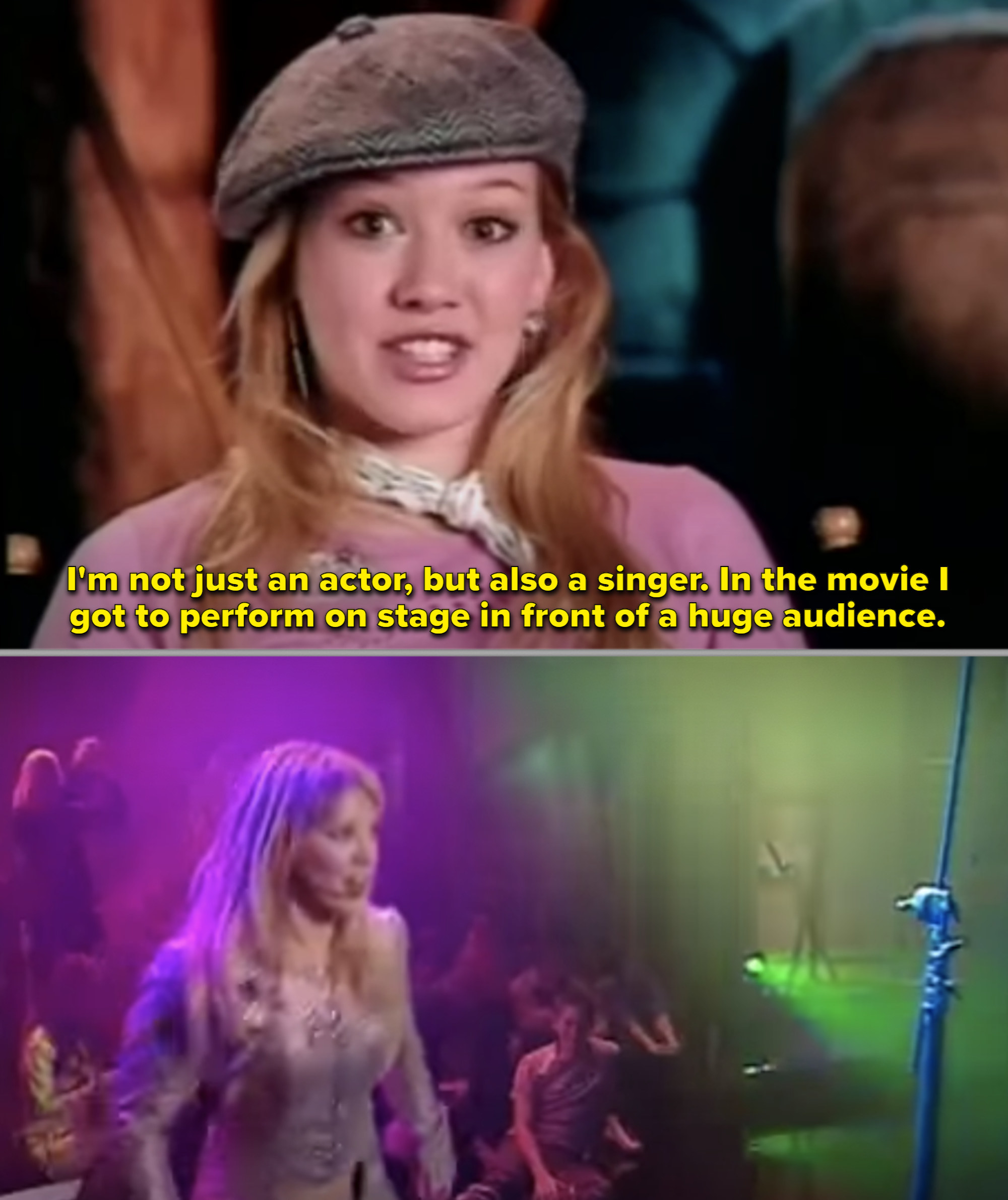 Hilary singing in the behind-the-scenes commentary on set