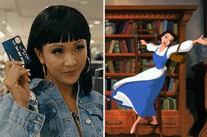 (left) Constance Wu in hoop earrings and bangs holds up a credit card and raises her eyebrows; Belle slides on a ladder across bookshelves