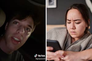 Splitscreen of a screenshot of a TikTok from @graysworld featuring a close-up on his face next to a photo of a person looking at their phone in annoyance