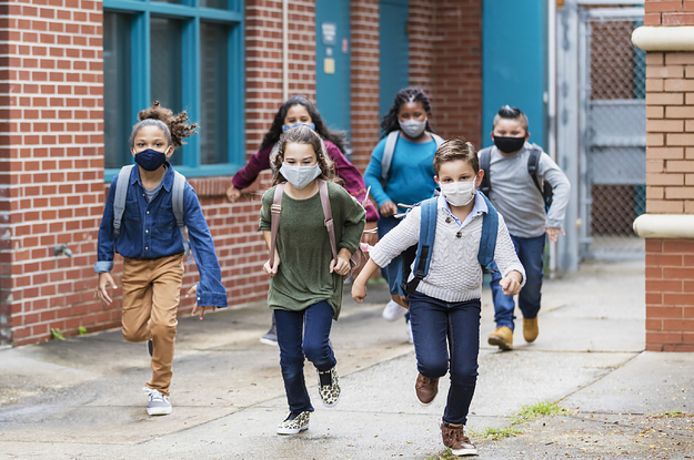 kids with masks at school