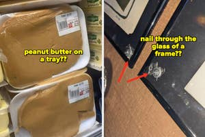 Peanut butter on a plastic wrapped tray and a picture hung up with the nail through the frame