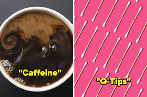 Top view of coffee with cream swirled in with text