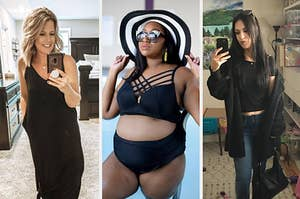 to the left: a reviewer in a black maxi dress, middle: a reviewer in a black bikini, to the right: reviewer in a black jacket and tee