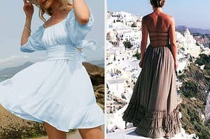 to the left: a model in a short flowy blue dress, to the right: a reviewer in an open-backed maxi dress