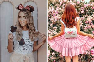 to the left: a model in a disney themed t-shirt, to the right: a reviewer in a pink skirt