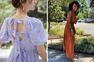 left image: model wearing purple chiffon dress, right image: reviewer wearing burnt orange high neck dress