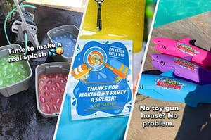 three images from left to right are three tubs of water balloons, a thank you tag for a water fight party, and three shark squirters