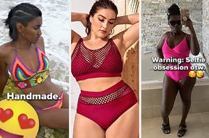 from left to right there's an image of a model wearing a colorful crocheted two-piece, a plus-size model wearing a red fishnet high-waist two-piece, and a reviewer wearing a pink one-piece swimsuit with a diamond cut-out along the stomach
