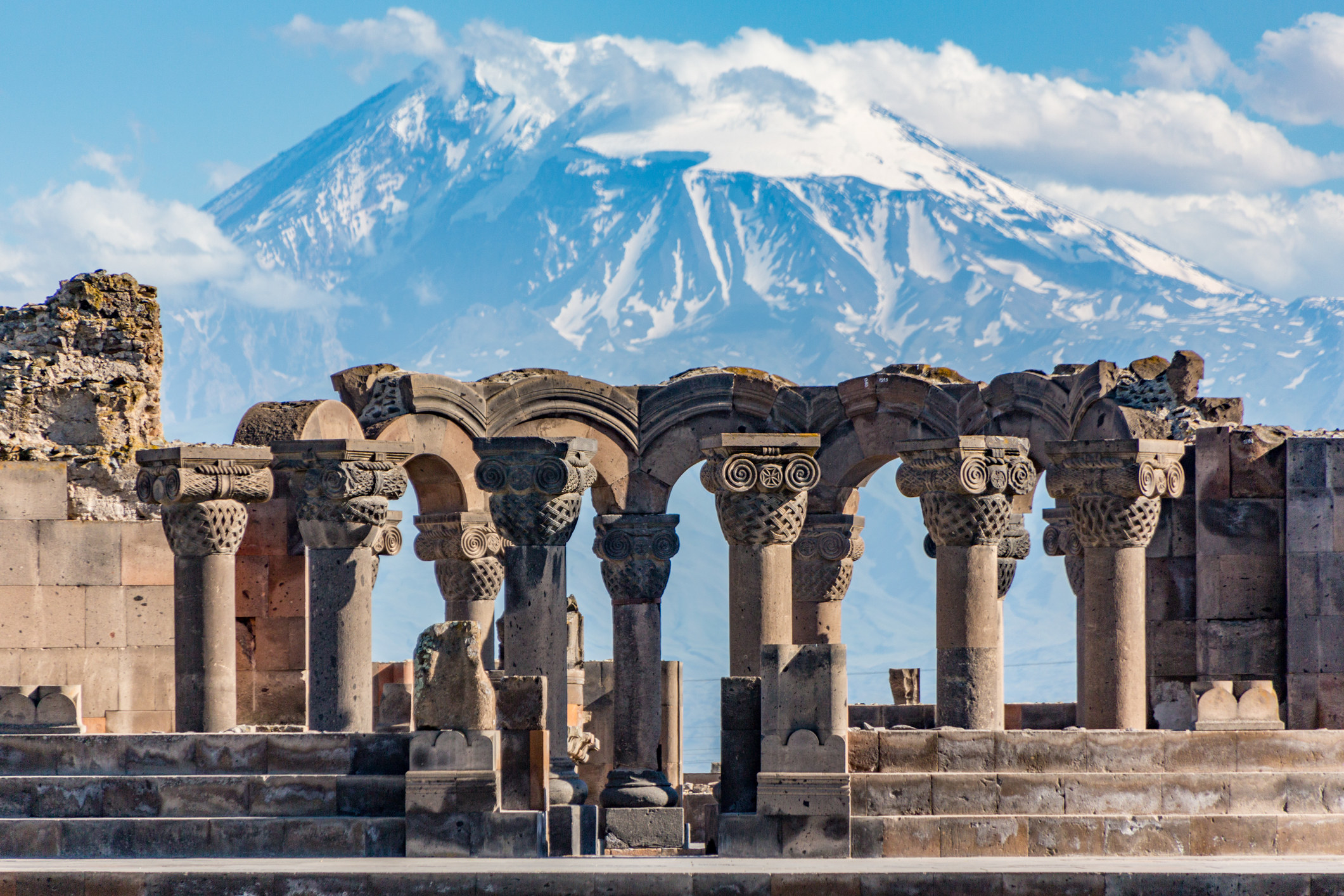 A mountain landscape and ruins in Yerevan, Armenia.